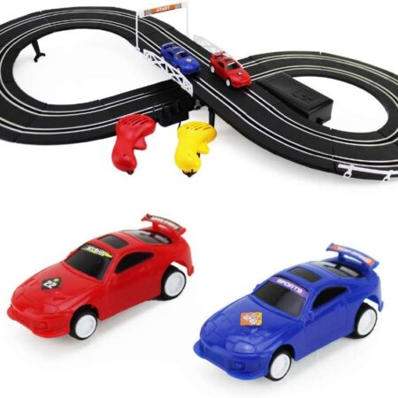 Boley Slot Car Racing Track Set with a red car and a blue car